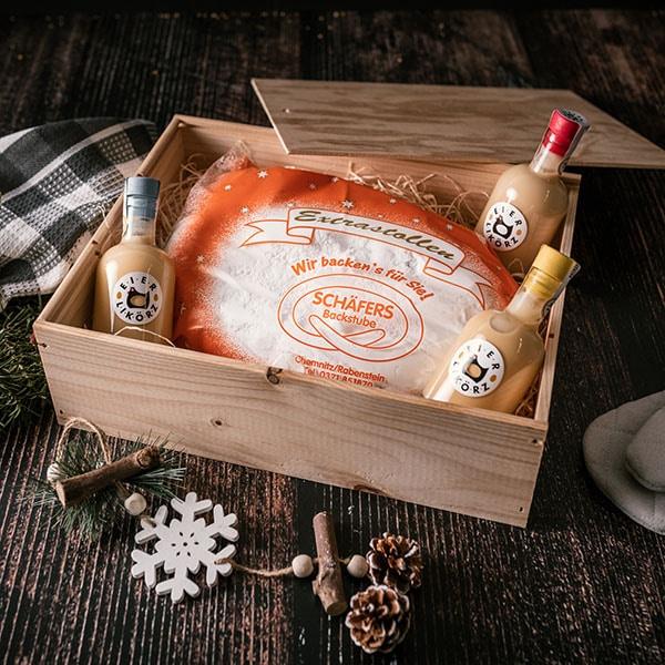 Weihnachtsbox mit Eierlikörz